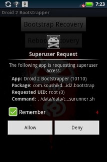 Droid2 bootstrap recovery allow